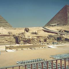 View of Sphinx and Pyramids of Khufu (Cheops) and Khafre (Chephren)