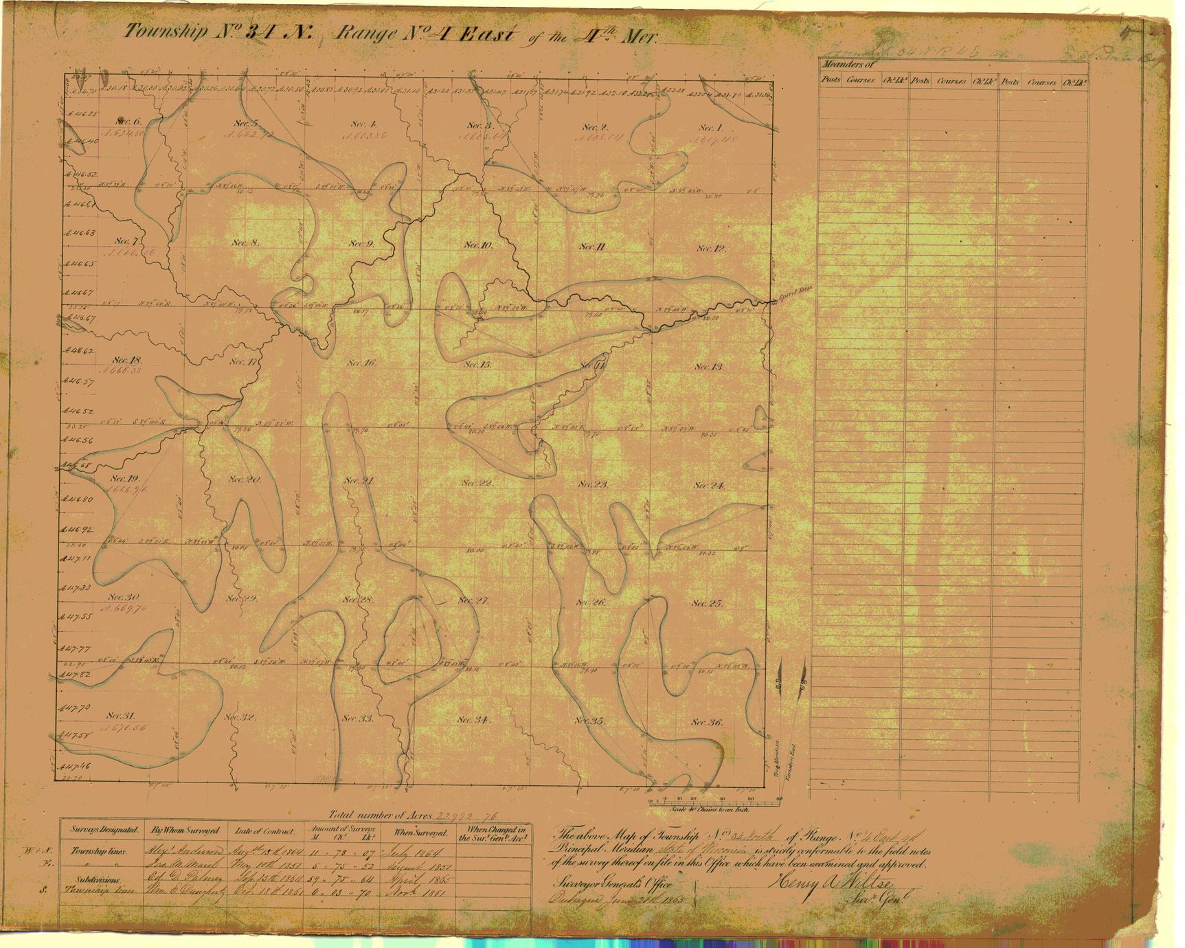[Public Land Survey System map: Wisconsin Township 34 North, Range 04 East]