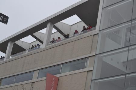 Onlookers on the top floor of the Madison Museum of Contemporary Art