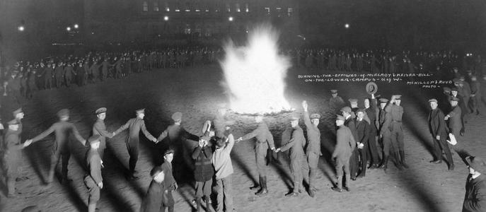 Burning McElroy and Kaiser Wilhelm in effigy