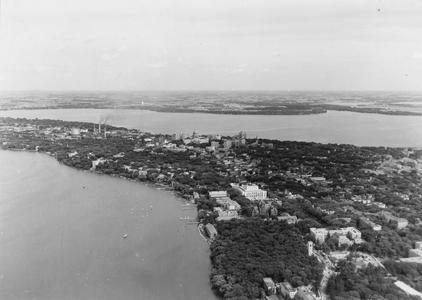 Aerial view of Madison's isthmus