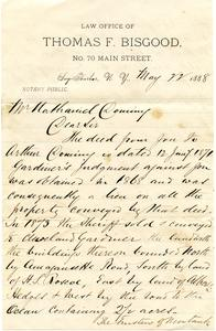 Letter and envelope from Thomas F. Bisgood to Nathaniel Dominy VII, 1888