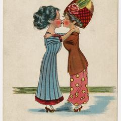 Women kissing, suffrage postcard