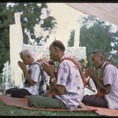 Ban Pha Khao : villagers praying (note : segregation of sexes)