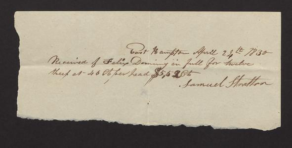 Receipt from Samuel Stratton to Felix Dominy, 1830