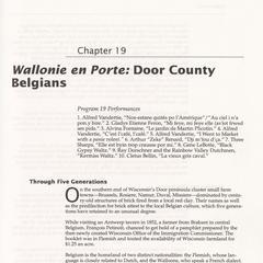 Wallonie en Porte : Door County Belgians