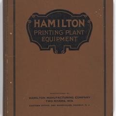Hamilton printing plant equipment manufactured by Hamilton Manufacturing Company