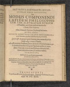 Saturnus saturatus dissolutus, et coelo restitutus, seu, Modus componendi lapidem philosophicum tam album, quam rubeum è plumbo  : ac etiam eadem methodo è Iove, sivè stanno