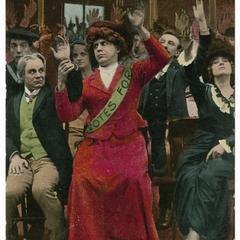 Hold up your hands, suffrage postcard