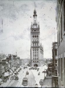 Milwaukee street scene at City Hall and N. Water Street