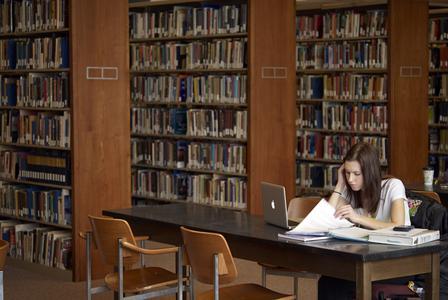 Student studying in UW-Waukesha Library