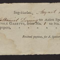 Receipt, 1804