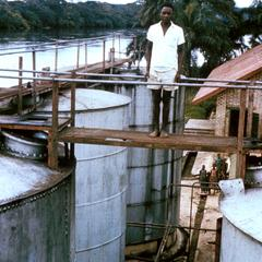 Vats for Holding Palm Oil at Lunungu Beach on Kwilu River