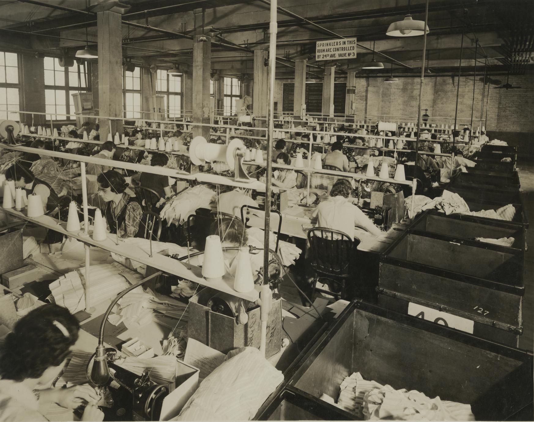 Cooper Underwear factory employees at work