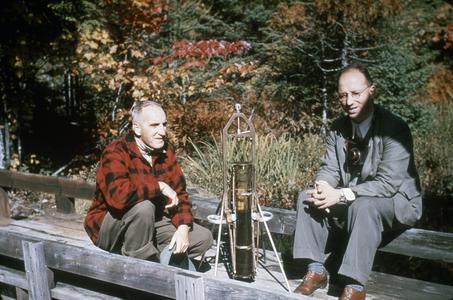 Arthur D. Hasler and Clifford Mortimer on pier