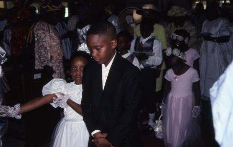Children leaving church