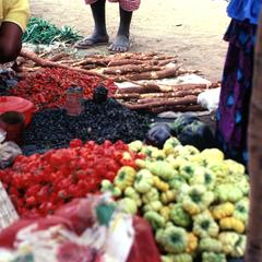 Hot Peppers, Bitter Tomatoes, and Cassava in Village Market