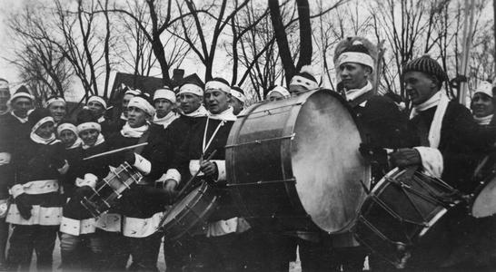 Marching band in the winter carnival