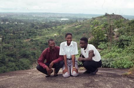 Three people on Ife hill