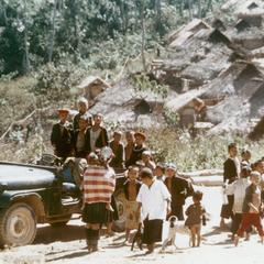 USAID jeep in the Akha village of Phate in Houa Khong Province