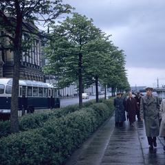 Men walking along river