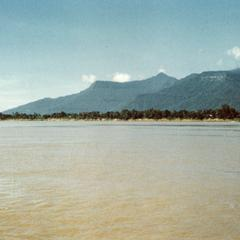 Panoramic view from the Mekong River looking southwest to Phou Kao in Champasak Province
