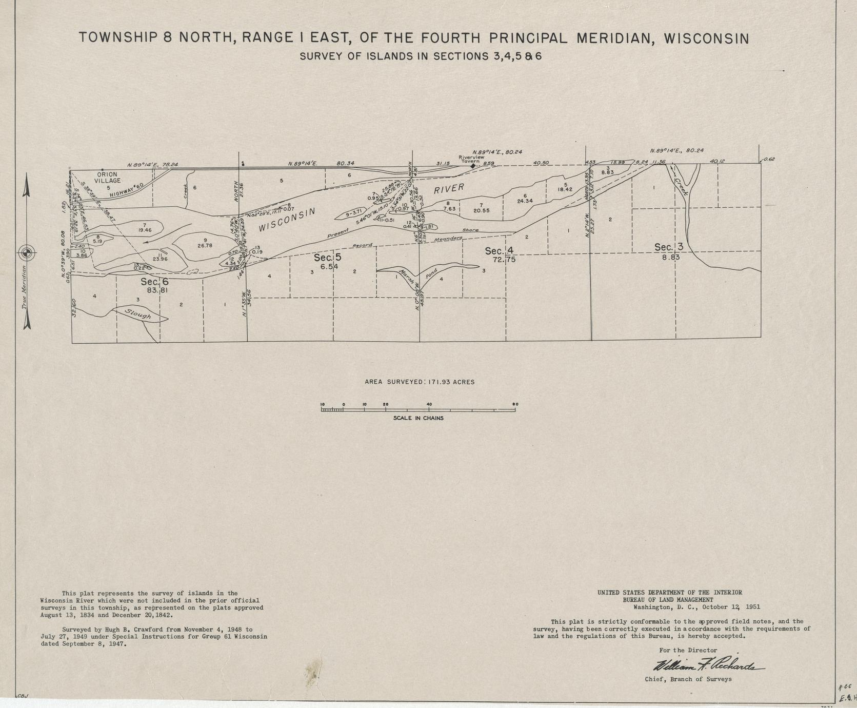 [Public Land Survey System map: Wisconsin Township 08 North, Range 01 East]