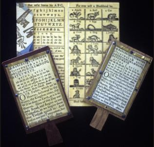 Collection of hornbooks and battledores