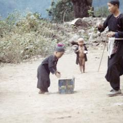 Blue Hmong children and father in northern Thailand