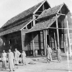 Monks at village pagoda, Pak Beng