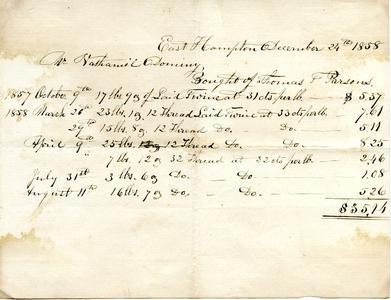Bill from Thomas F. Parsons to Nathaniel Dominy VII, 1858