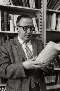 Professor Menahem Mansoor with cuneiform cylinder