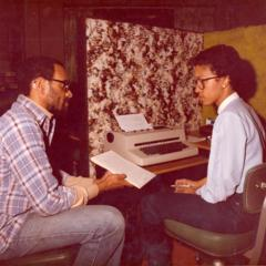 Professor Pope Wright and student typing