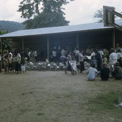 Refugees awaiting food distribution