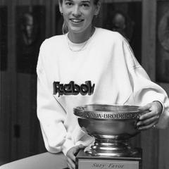 Suzy Favor Hamilton holds the Honda-Broderick Cup Trophy
