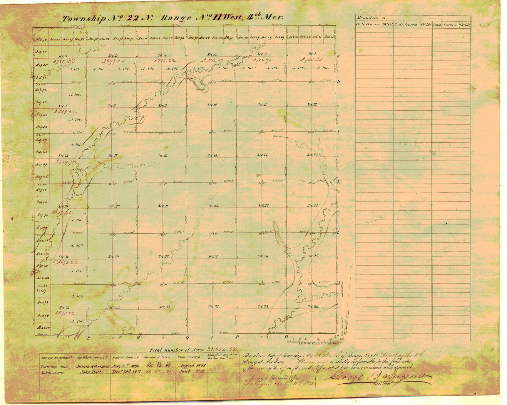 [Public Land Survey System map: Wisconsin Township 22 North, Range 11 West]