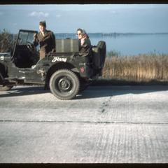 Annie (Pat's friend) in a jeep with a GI in Holland