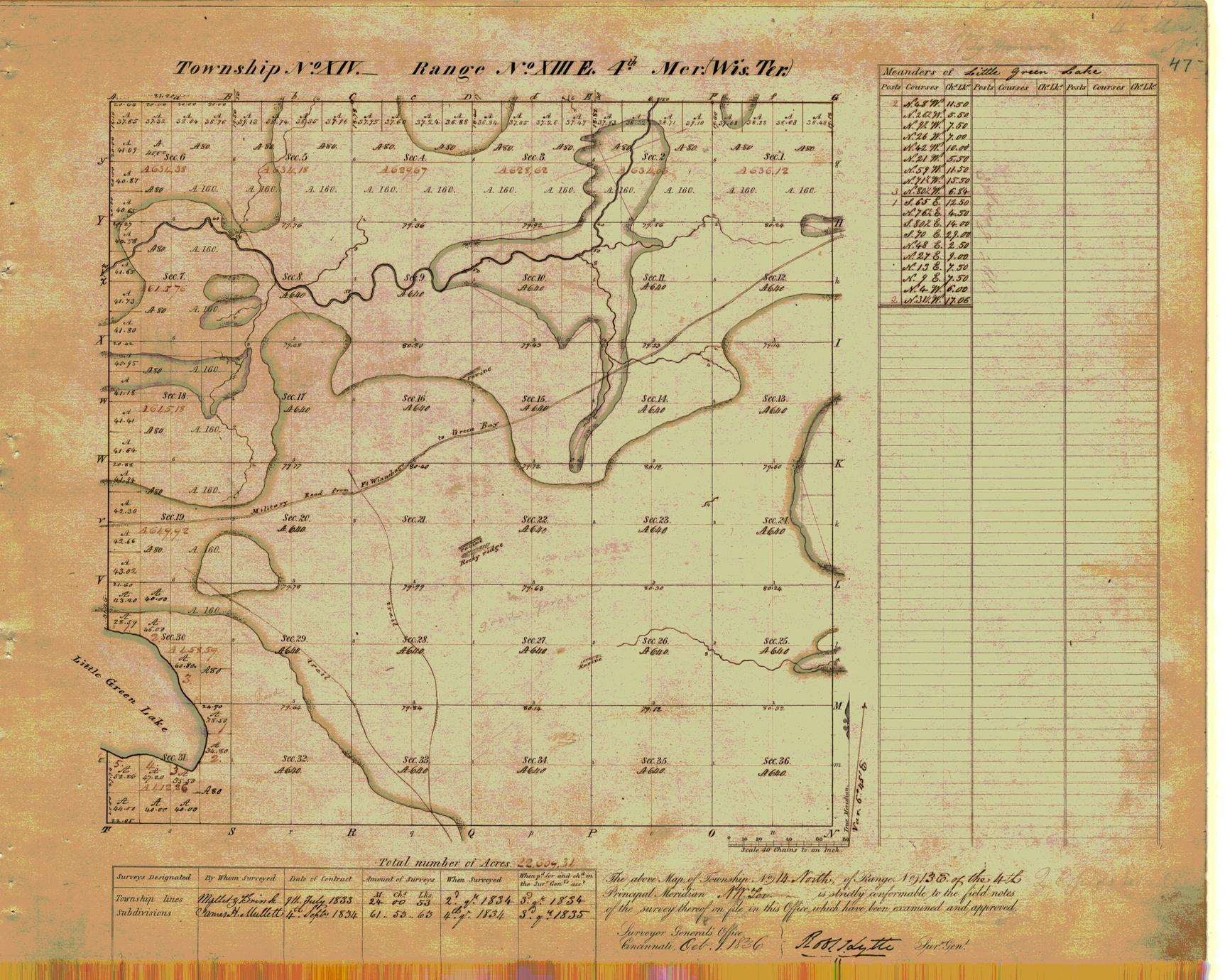 [Public Land Survey System map: Wisconsin Township 14 North, Range 13 East]