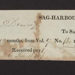 Bill from Samuel Phillips to Felix Dominy for subscription to the Watchman, 1834