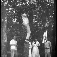 Picnic. Mr. Reid in tree. Pond, France & M. B.