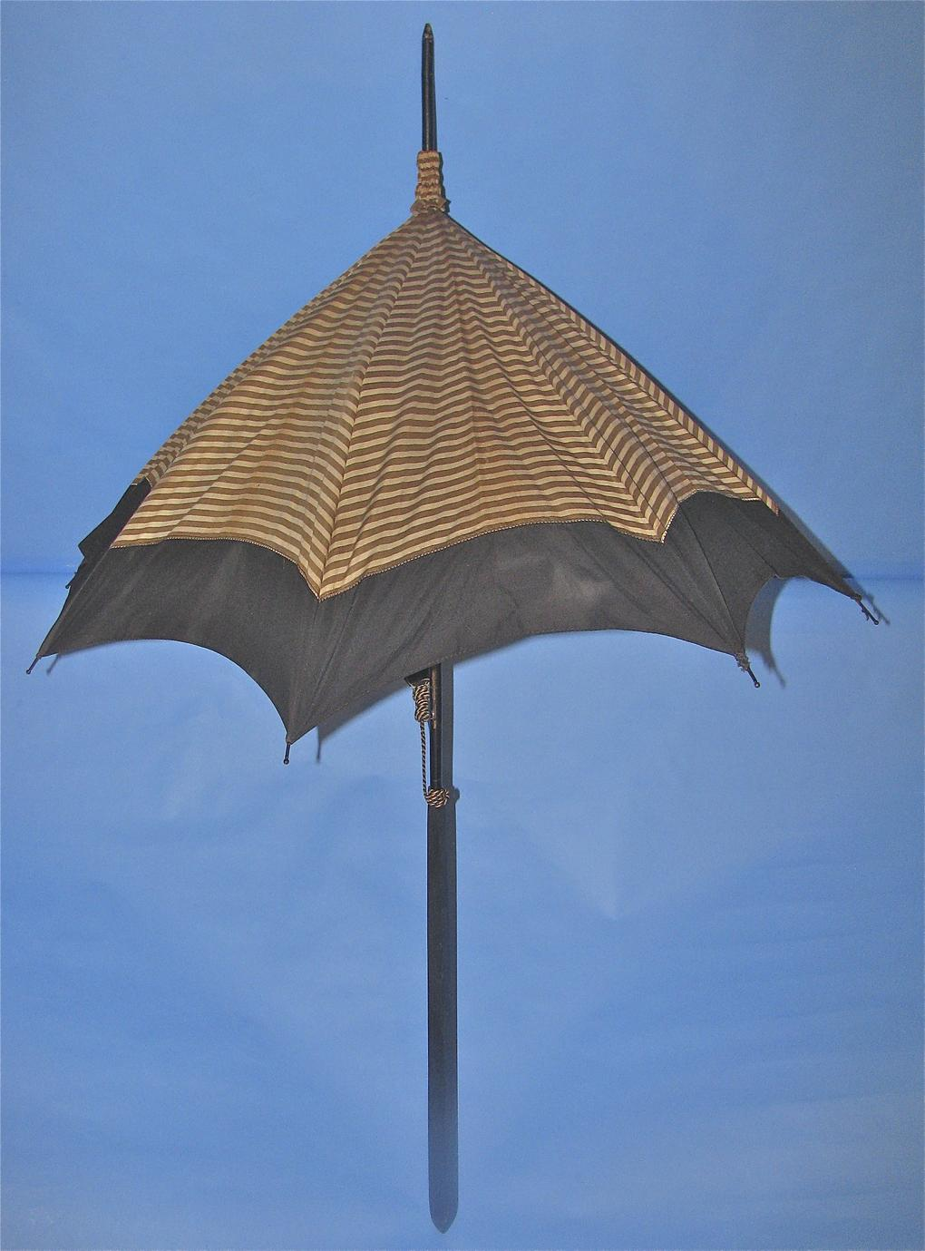 Brown and cream striped parasol