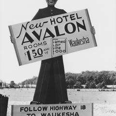 Avalon Hotel, Waukesha, billboard