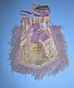 Hand-stitched lavender satin bag