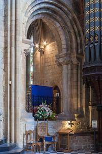 Worcester Cathedral south transept into St John's Chapel Norman arch