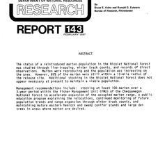 Status of marten in Wisconsin, 1985