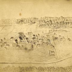 Early drawing of the village of New Glarus