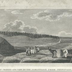 Hay-making and view of the Almannagiâ from Thingvalla.