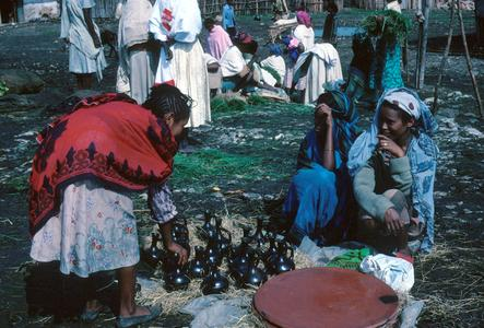 Oromo Market Scene Showing Flat Clay Tray for Making Bread