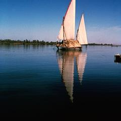 Felucca (Sailing Boat) with Two Sails on Nile River