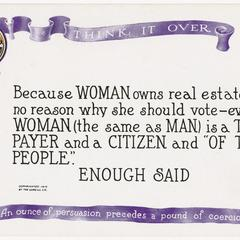 Enough said, suffrage postcard
